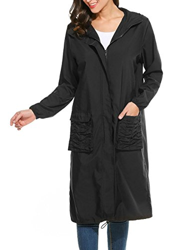Hount Women's Lightweight Waterproof Raincoat with Hood Long Outdoor Hiking Jacket (Small, - Long Black Raincoat
