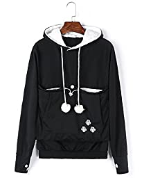 Unisex Cat Ear Big Kangaroo Pouch Hoodie Long Sleeve Pet Cat Dog Holder Carrier Sweatshirt (L, Black)