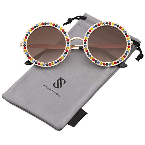 SOJOS Round Oversized Rhinestone Sunglasses for Women Diamond Shades SJ1095 with Gold Frame/Gradient Brown Lens with Colored Diamond from SOJOS