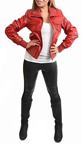 Cuir En Casual Maison Court Véritable De Rouge De Fit Veste Blouson Femmes Devise Slim Cuir IBRxR8