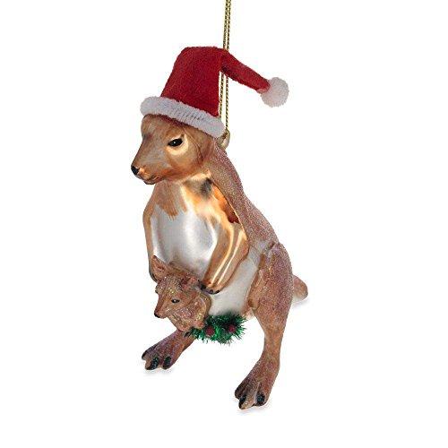 BestPysanky Santa Kangaroo Mom with The Baby Glass Christmas Ornament 4.6 Inches