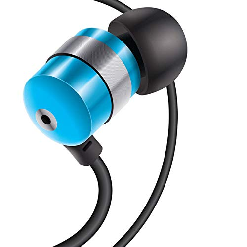 GOgroove Earbud Headphones with Deep Bass & Comfortable Ear Gel Tips (Blue) - in Ear Earphones Featuring Noise Isolating Design, Durable Alloy Driver Housing, Ergonomic Angled Stay-in Fit