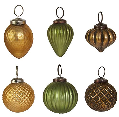 RAZ Imports Modern Metallics Multicolored Glass Assorted Boxed Set of 6 Christmas Ornaments - Glass Sage Bronze