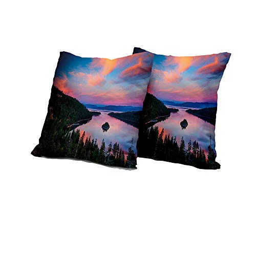 All of better futon Cushion Cover Lake Tahoe,California Photography Rustic Themes Sundown Time Freshwater Sierra Nevada Lake,Multicolor Outdoor Pillow Covers 14x14 INCH 2pcs