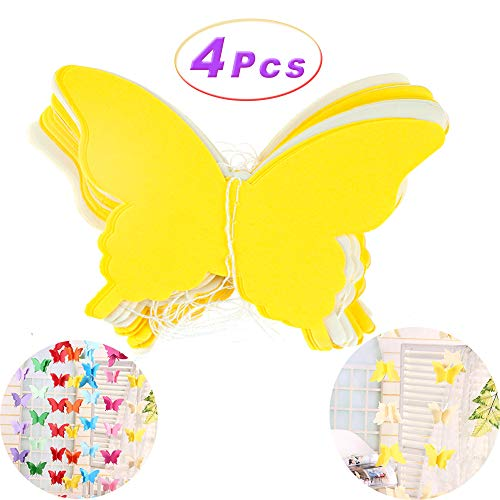 (4 Pcs Colorful Butterfly Hanging Decorations Paper String Banner Decoration Children's Room Shopping Mall Window Decoration Wedding Birthday Party Supplies (Yellow))