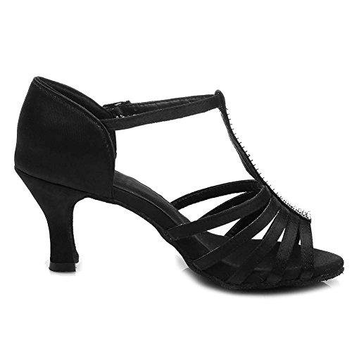 Latine Ballroom 7cm uk Satin Danse 227 Model Noir De Chaussures Swdzm qxRwaptAx