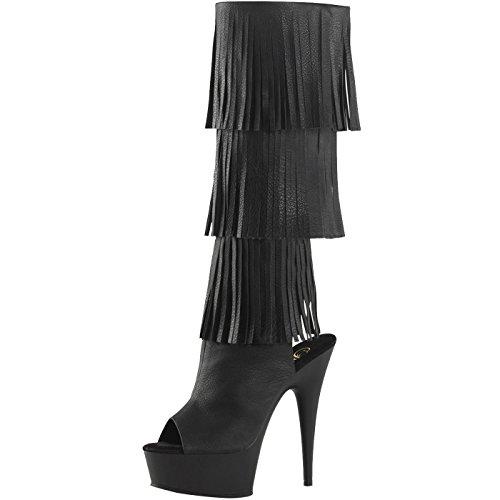 Heels-Perfect Peep Toe Stiefel, Damen, Schwarz (Schwarz) Schwarz (Schwarz)