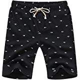 YTD Men's Linen Casual Classic Fit Short Summer Beach Shorts XL Black