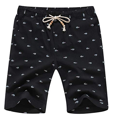 YTD Men's Linen Casual Classic Fit Short Summer Beach Shorts M Black