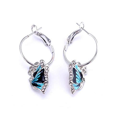 (Wing Blue Enamel Rhinestone Enameled Earrings Butterfly Dangle Hoop Crystal)