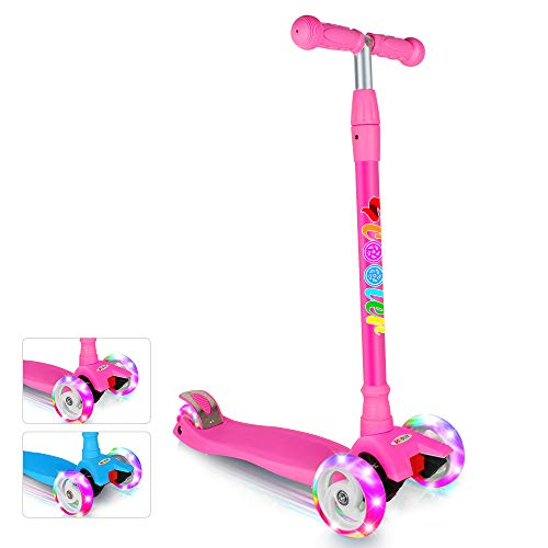 BELEEV Scooter for Kids Kick Scooter 3 Wheel, 4 Adjustable Height, Lean to Steer with LED Light Up Big Wheels for Children from 3 to 13 Years Old (Pink)