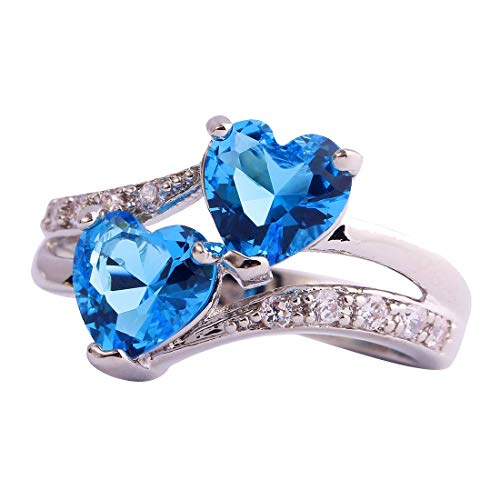 - Emsione Vintage 925 Sterling Silver Plated Halo CZ Double Heart Created Blue&White Topaz Love Wedding Promise Ring