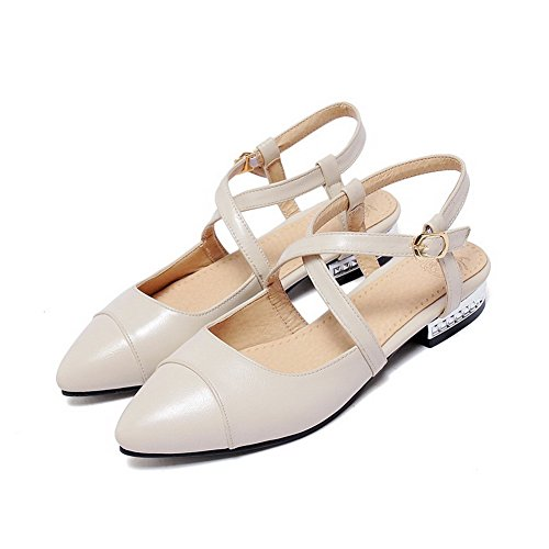 Beige Soft Buckle Toe Low Women's Sandals WeenFashion heels Solid Closed Material nqa7vxBZ