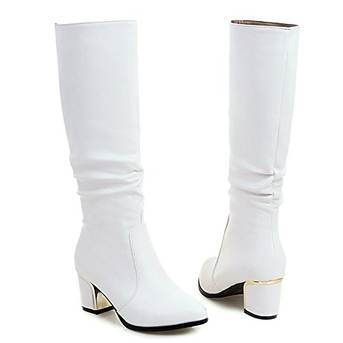COOLCEPT Damen Mode Square Heel Slouch Stiefel Pull On White