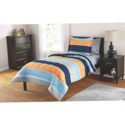 Hemau Premium New Soft Reversible Comforter and Matching Sheet Set for All Seasons (Twin, Rugby Stripe) | Style 503194455