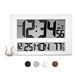 MARATHON CL030025WH Commercial Grade Jumbo Atomic Wall Clock with 6 Time Zones, Indoor Temperature & Date (White)