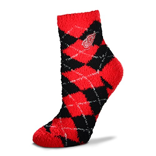 (For Bare Feet NHL Argyle Fuzzy Sleep Socks-Detroit Red Wings)