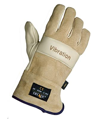 Decade 49504 Leather Anti-Vibration Full-Finger Right Hand Premium Glove with Safety Cuff and Gfom, Buff, X-Large