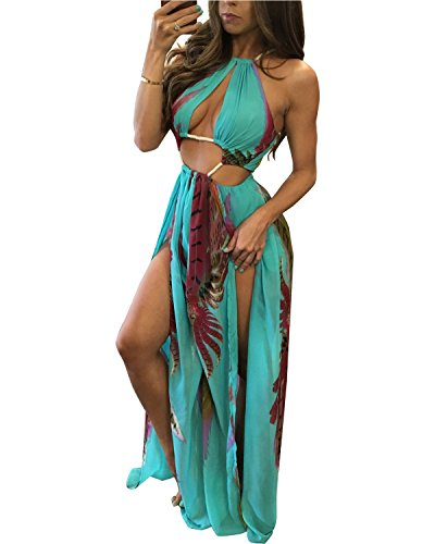 BIUBIU Women's Boho Chiffon Halter Summer Beach Party Cover Up Dress Blue XL