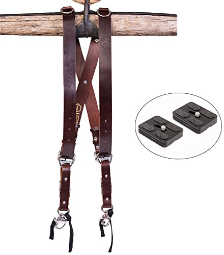 HoldFast Water Buffalo Leather Money Maker Luxury Leather Multi Camera Strap (Burgundy) and Two Ivation Replacement Plates for the Mefoto Roadtrip, Backpacker Tripod Systems by Calumet