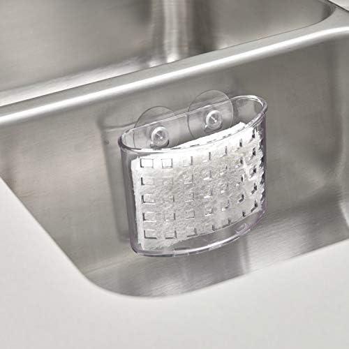 iDesign Kitchen Sink Suction Holder for Silverware Flatware Cutlery  Clear