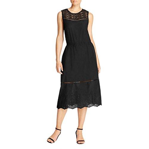 Cupcakes & Cashmere Womens Knit Contrast Trim Casual Dress Black L