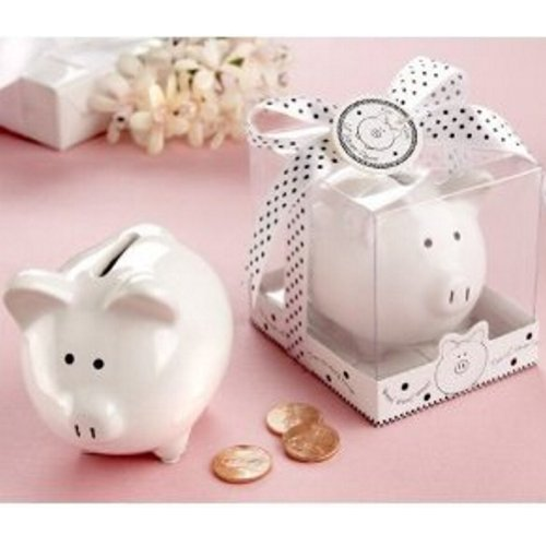 Lil Saver Favor Ceramic Mini Piggy Bank In Gift Box With Polka Dot Bow  Pack Of 30