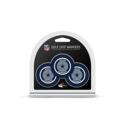 Team Golf NFL Dallas Cowboys Golf Chip Ball Markers (3 Count), Poker Chip Size with Pop Out Smaller Double-Sided Enamel - Poker Cowboys