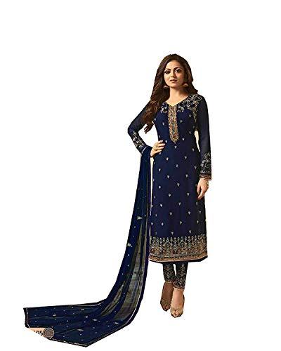 (stylishfashion Embroidered Salwar Suit Ethnic wear Indian Pakistani Anarkali Straight Salwar Kameez (Blue, M-40))