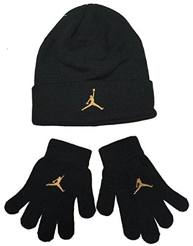 Amazon.com  Nike Air Jordan Boys Winter Hat Beanie Cap Gloves Set Black Gold  8 20  Sports   Outdoors 303ee2b1810