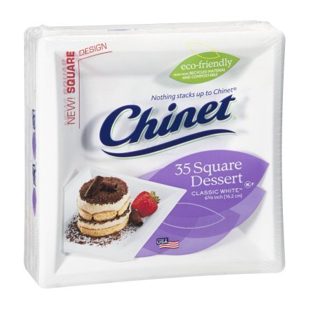 Pack of 5 - Chinet Classic Paper Dessert Plates, Square, 6 3/8, White, 35 Ct