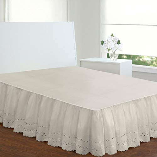 Ivory Eyelet Bedskirt - Ivory Ruffles Pattern Bed Skirt Queen Size, Elegant Luxurious Eyelet Textured Design Ruffled Bed Valance, Features 18 Inches Drop, Classic Casual Style, Solid Color, Soft & Durable Cotton Polyester