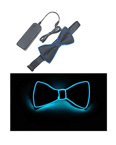 DOFE Light Up Bow Ties For Men, Neon Blue LED Bow Tie for Costume Party, Party, birthday Party, Halloween, -