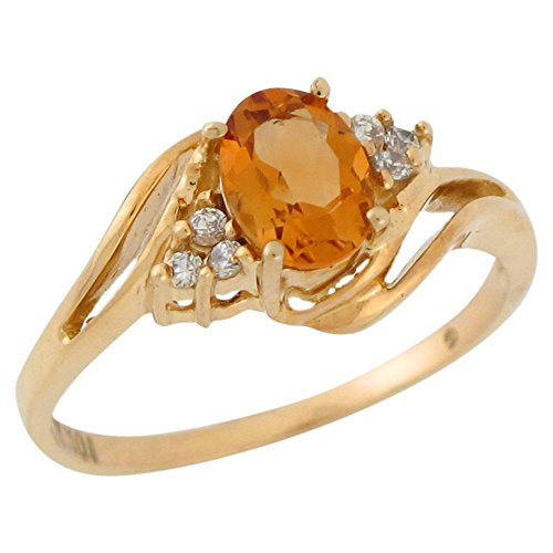 (14k Yellow Gold Natural Citrine and White Topaz Lovely Bypass Style Ladies Ring)