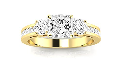 14K Yellow Gold 1.22 CTW Channel Set 3 Three Stone Diamond Engagement Ring w/ 0.62 Ct Princess Cut F Color SI2 Clarity - 3 Round Ring 40 Stone