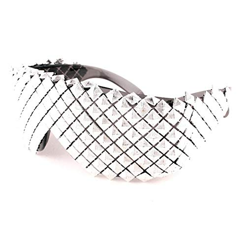 Punk Rocker Large Shield Spike Fashion Novelty Party Dance Sunglasses (Silver, ()