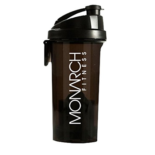 Monarch Fitness Shaker Bottle With Supplement Compartment - Press Button to Release Supplement Powder and Agitator | For Fitness, Crossfit, and Bodybuilding