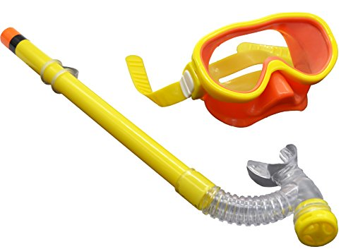 Swimming Goggles Snorkel Mask with Anti-fog Silicone Set (Yellow) - 2