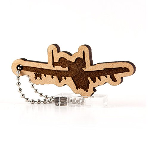 Sunset Design Lab A-10 Thunderbolt II Warthog USAF Wood Laser Cut Keychain Charm ()