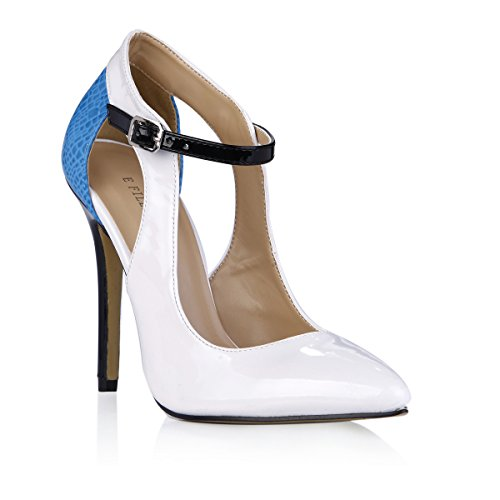 Tacchi Alti Party Dress Stiletto Slim Pumps Donna A Punta Moda Elegante Bianco Delfino Scarpe Da Donna Prime White + Blue