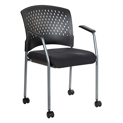Office Star Ventilated Plastic Back and Padded Coal FreeFlex Seat, Fixed Arms, Titanium Finish Stacking Visitors Chair with Casters, Black (8640 Rolling Visitors Chair)