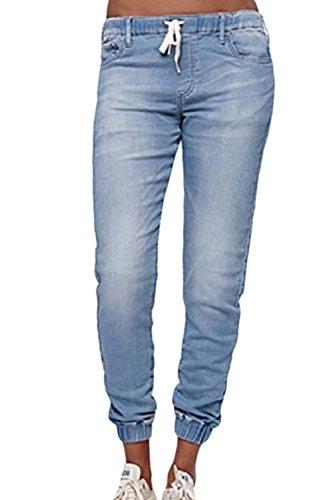Pantalons Avec Denim Poches De Cordon Pantalon Jeans Skyblue Long Suvimuga Harem 8qAda8w