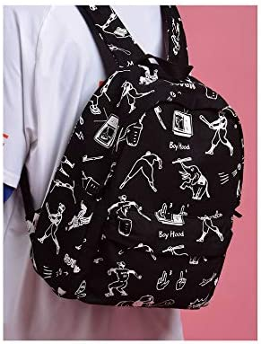 XYL HOME BackpackCanvas Contrast Embroidery Shoulder Bag Female Large Capacity high School Student Bag Casual Backpack