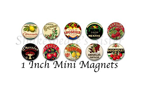 Vintage Style French Fruit Liqueur Label Magnets - 1 Inch Round 10 Mini Magnets - Vintage Kitchen Decor Cafe Liqueur