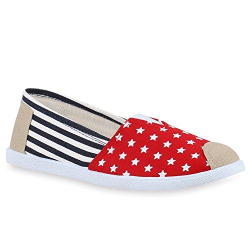 Stiefelparadies Damen Espadrilles Bast Slipper Glitzer Streifen Sommer Schuhe Flandell Rot Blau