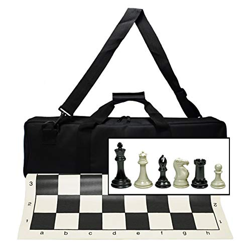 (Ultimate Tournament Chess Set with New Silicone Chess Mat, Canvas Bag and Super Triple Weighted Chessmen with 4