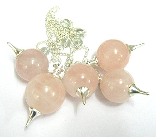 (CRYSTALMIRACLE EXCLUSIVE SET OF FIVE ROSE QUARTZ SPHERE PENDULUMS CRYSTAL HEALING WELLNESS REIKI POSITIVE ENERGY DOWSING METAPHYSICAL FENG SHUI PEACE RELATIONSHIP WEALTH HEALTH LOVE PEACE MEDITATION)
