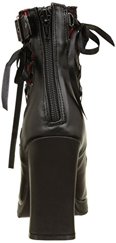 Demonia Women's Crypto-51 Boots, Black Black (Blk-red Lace Vegan Leather)