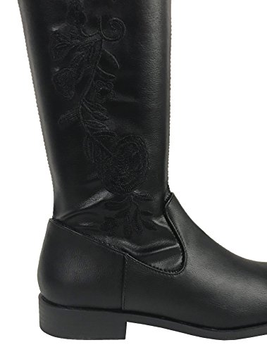 Floral Heel Womens Boots Stretchy High Black Low Leatherette Thigh OTK Embroidered New Ec1FnWTq6E