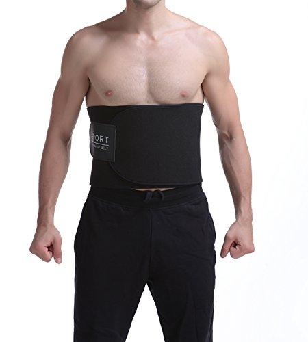 Neoprene Sweat Belt,Waist Trimmer Belt For Weight Loss Fat Faster Adjustable Sauna Burn Belly Fat for Men & Womens (Black)